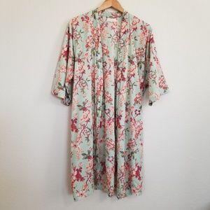 World Market Floral Duster Midi Kimono Free Size